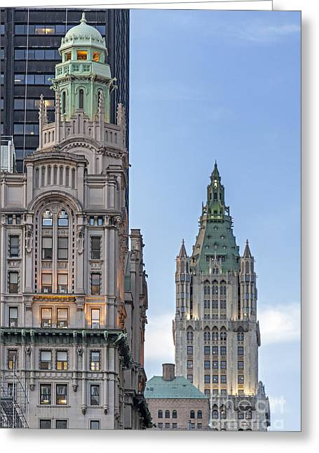 Greeting Card featuring the photograph New York Woolworth Building  by Juergen Held
