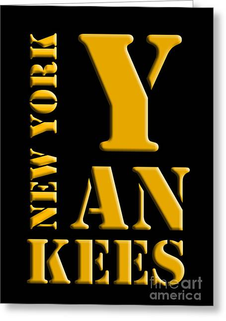 New York Yankees Black And Yellow Greeting Card