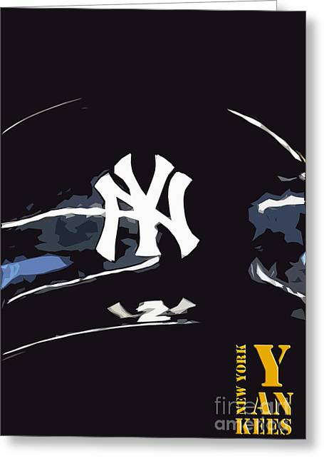 New York Yankees Black Greeting Card by Pablo Franchi