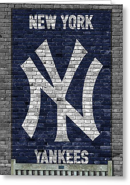 New York Yankees Brick Wall Greeting Card by Joe Hamilton