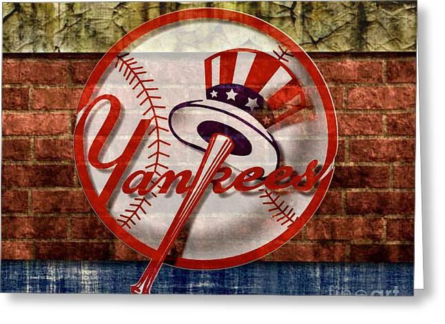 New York Yankees Top Hat Brick 2 Greeting Card