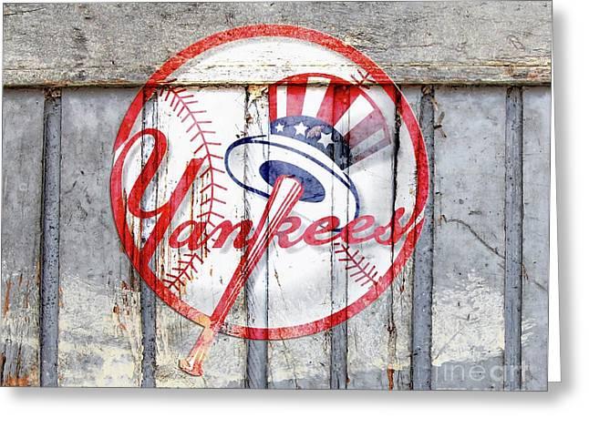 New York Yankees Top Hat Rustic 2 Greeting Card