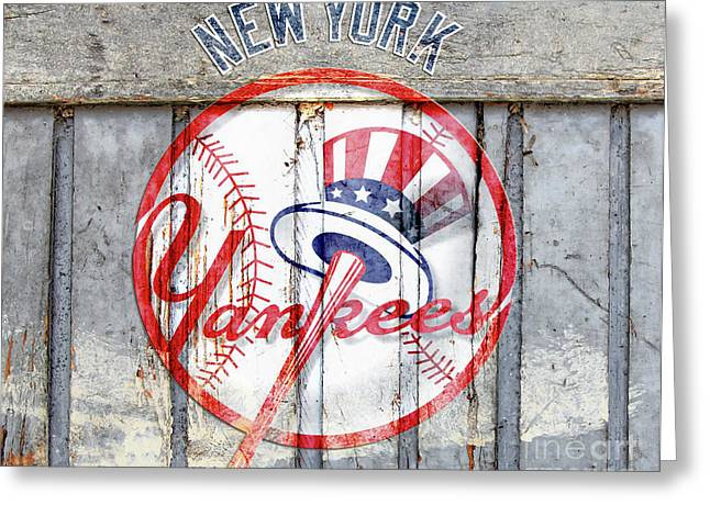 New York Yankees Top Hat Rustic Greeting Card