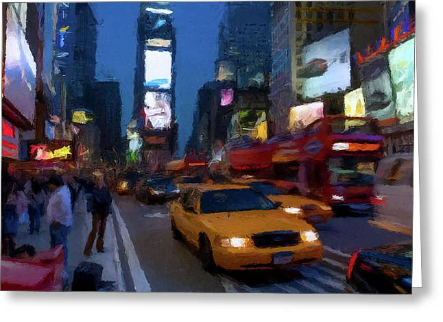 Greeting Card featuring the painting New York Yellow Cab by David Dehner