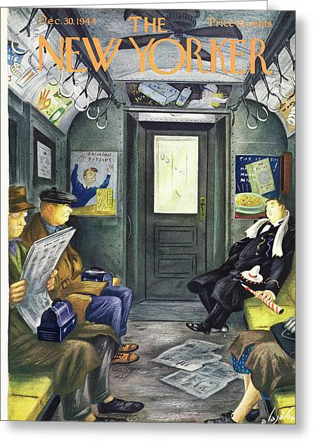 New Yorker Magazine Cover Of A Man Sleeping Greeting Card