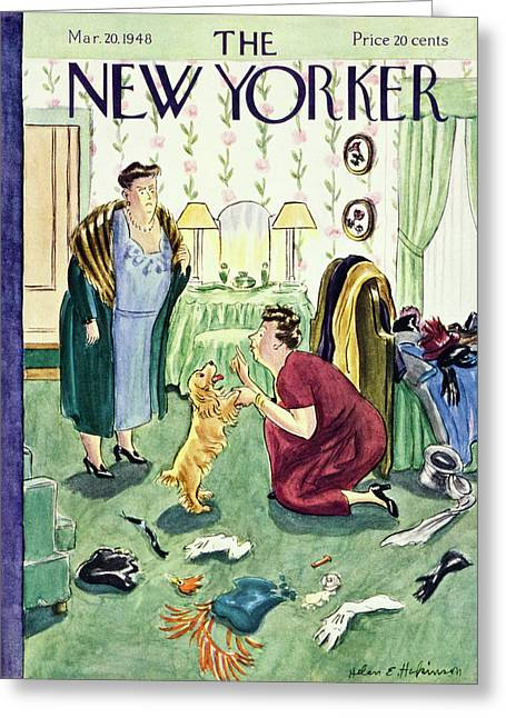 New Yorker Magazine Cover Of A Woman Disciplining Greeting Card