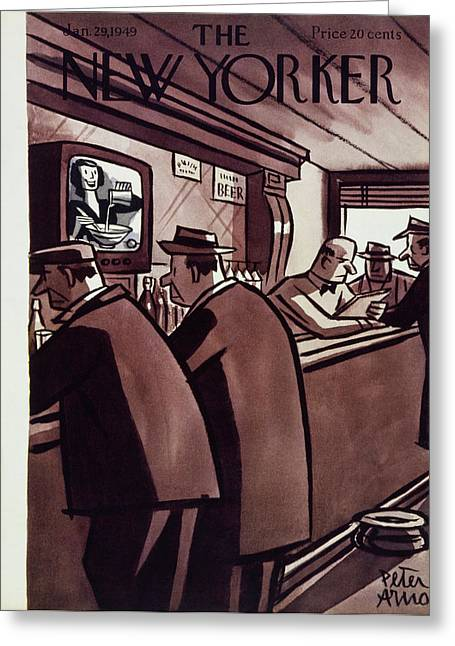New Yorker Magazine Cover Of Men In A Bar Greeting Card by Peter Arno