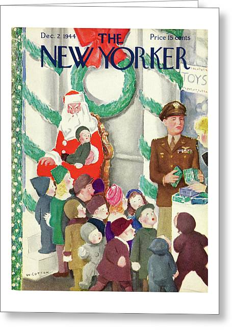 New Yorker Magazine Cover Soldier And Santa Greeting Card