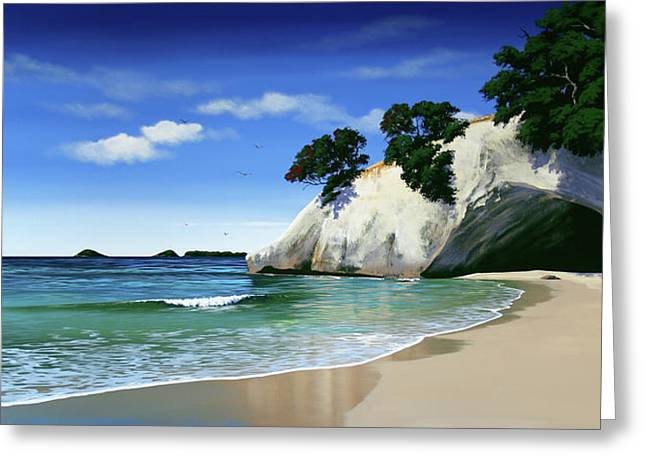 New Zealand Cathedral Cove By Linelle Stacey Greeting Card by Linelle Stacey