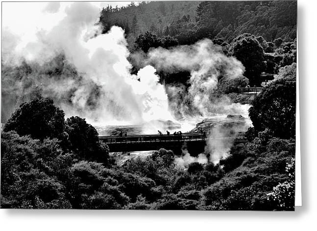 New Zealand - Figures Against Hot-steam - Black And White Greeting Card