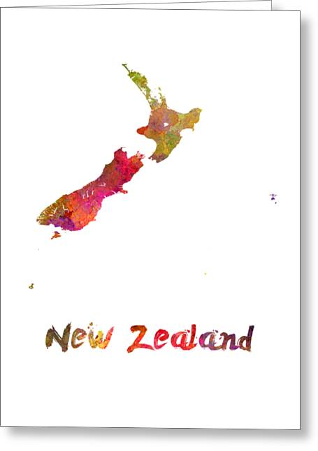 New Zealand In Watercolor Greeting Card by Pablo Romero
