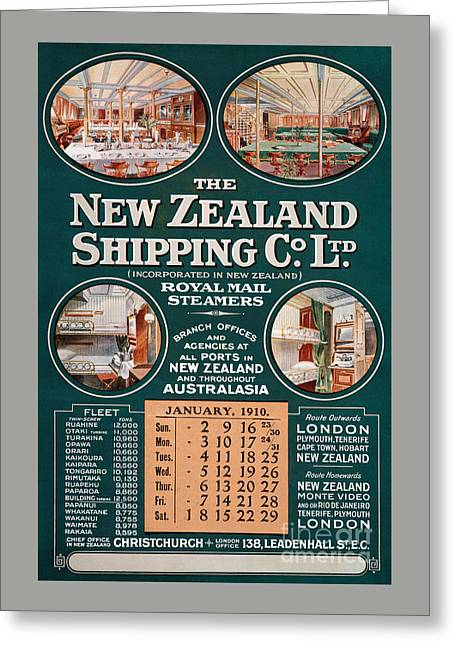New Zealand Shipping Co. Vintage Poster Greeting Card by Carsten Reisinger