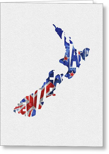 New Zealand Typographic Map Flag Greeting Card