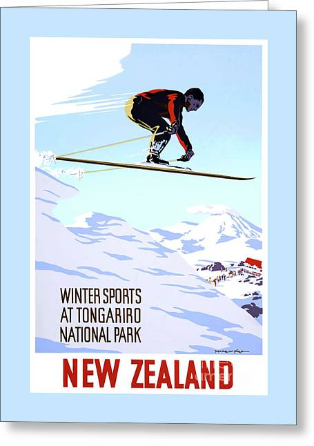 New Zealand Winter Sports Vintage Travel Poster Greeting Card