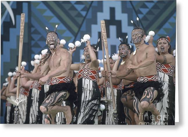 Greeting Card featuring the photograph New Zealand,north Island,  Rotorua Arts Festival,dance And Singi by Juergen Held