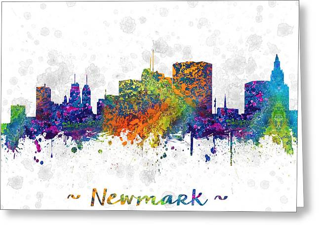 Newark New Jersey Skyline Color 03sq Greeting Card