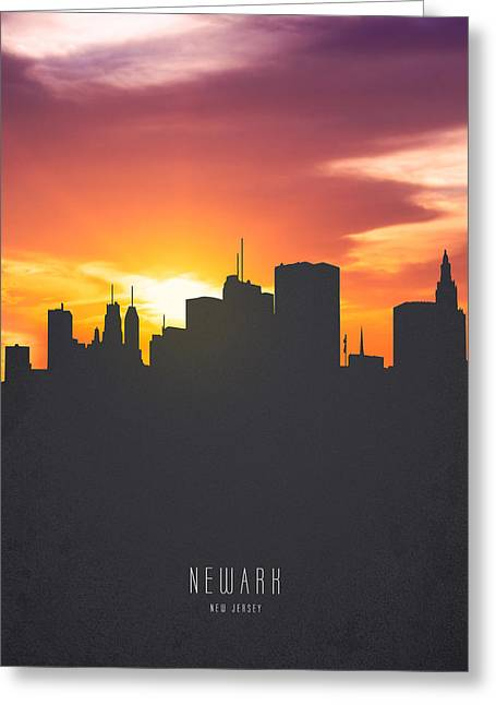 Newark New Jersey Sunset Skyline 01 Greeting Card by Aged Pixel