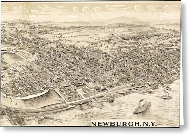 Newburgh Ny Birds Eye Drawing Greeting Card