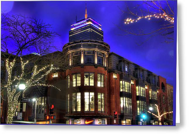 Greeting Card featuring the photograph Newbury Street And The Prudential - Back Bay - Boston by Joann Vitali