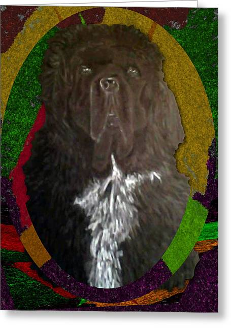 Greeting Card featuring the drawing Newfie Colors by Michelle Audas