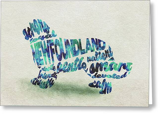 Greeting Card featuring the painting Newfoundland Dog Watercolor Painting / Typographic Art by Ayse and Deniz