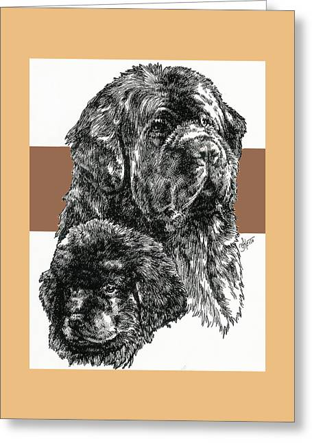Newfoundland Father And Son Greeting Card by Barbara Keith