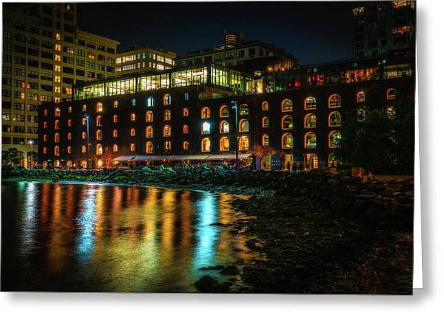 Greeting Card featuring the photograph Newly Gentrified Warehouse At Night by Chris Lord