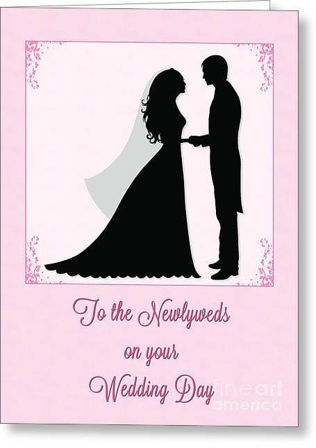 Greeting Card featuring the digital art Newlyweds Silohuette by JH Designs