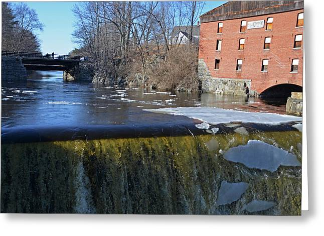 Newmarket Nh Waterfall Newmarket Mills Greeting Card by Toby McGuire