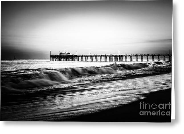 Newport Balboa Pier Black And White Picture Greeting Card by Paul Velgos