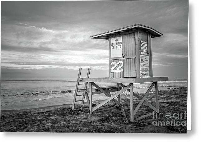 Newport Beach Ca Lifeguard Tower 22 Black And White Photo Greeting Card by Paul Velgos