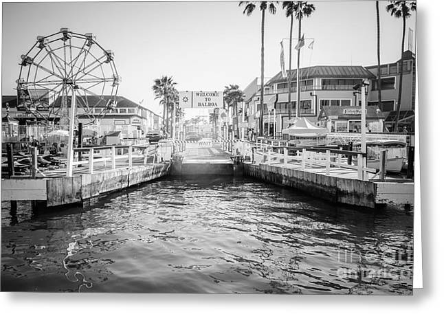 Newport Beach Ferry Dock Black And White Photo Greeting Card