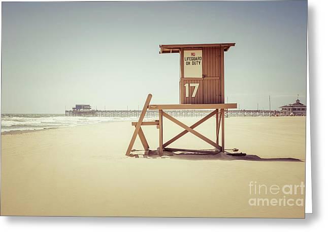 Newport Beach Pier And Lifeguard Tower 17 Greeting Card