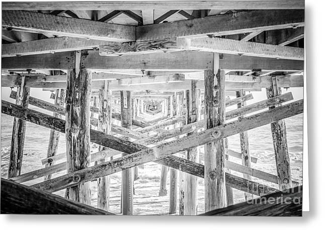 Newport Beach Pier Black And White Photo Greeting Card by Paul Velgos