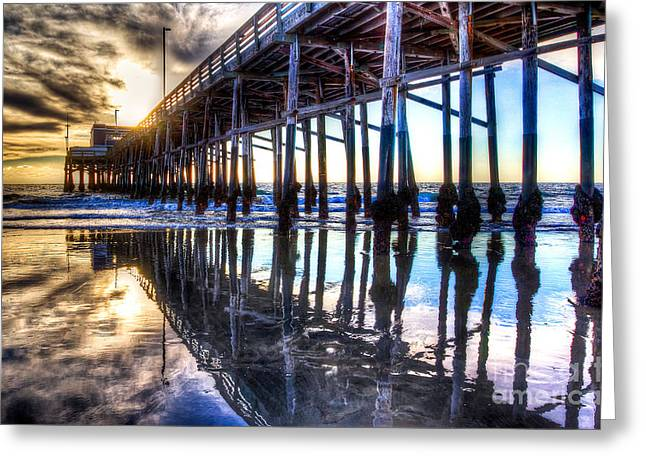 Newport Beach Pier - Reflections Greeting Card