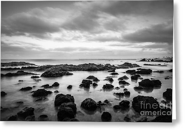 Newport Beach Tide Pools Black And White Photo Greeting Card
