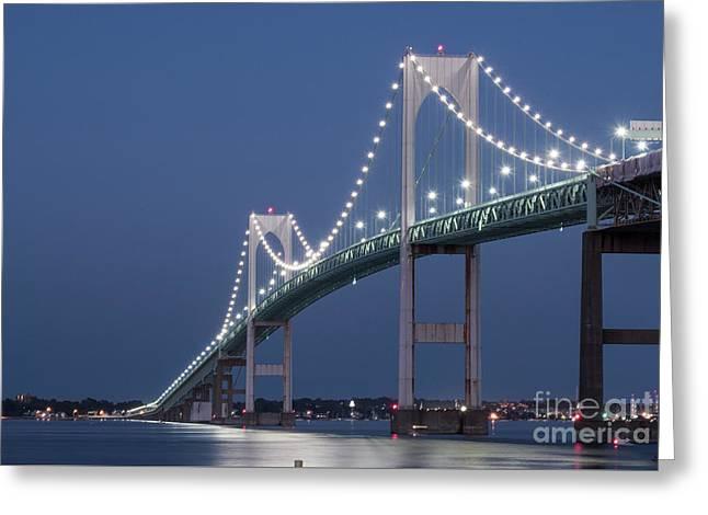 Newport Bridge Blues Greeting Card by Juli Scalzi