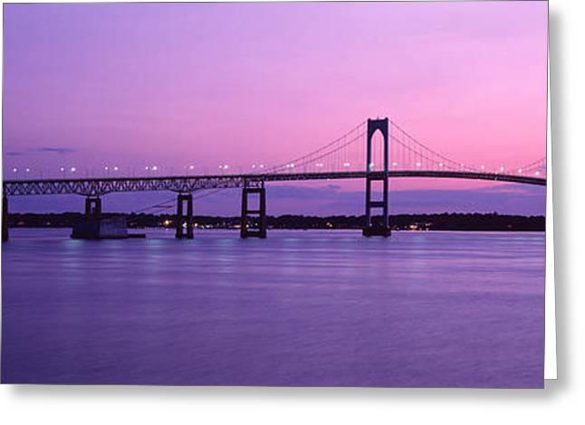 Newport Bridge Conanicut Island Newport Greeting Card by Panoramic Images