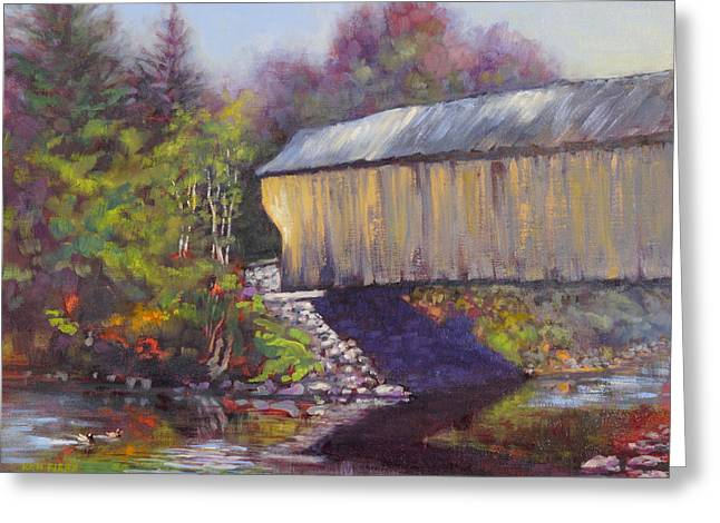 Newport Covered Bridge Greeting Card by Ken Fiery