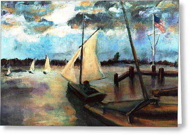Newport Moonlight Sail Greeting Card by Randy Sprout
