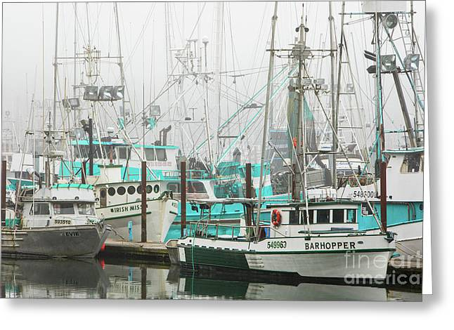 Newport, Oregon Fishing Fleet Greeting Card by Jerry Fornarotto
