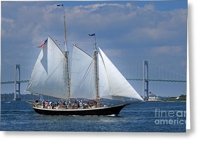 Schooner Aquidneck Greeting Card By Jim Beckwith