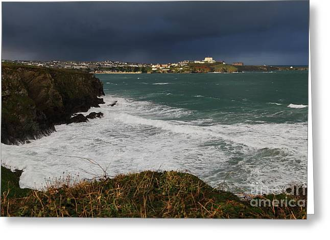 Greeting Card featuring the photograph Newquay Squalls On Horizon by Nicholas Burningham