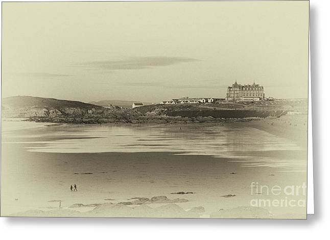 Greeting Card featuring the photograph Newquay With Old Watercolor Effect  by Nicholas Burningham