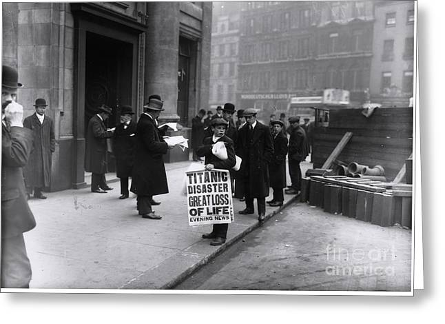 Newsboy In London Selling Newspapers Of Titanic's Sinking Greeting Card