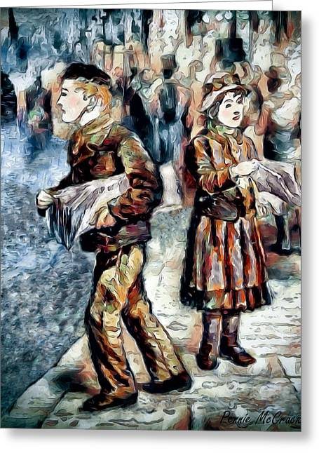 Greeting Card featuring the digital art Newsboy by Pennie McCracken