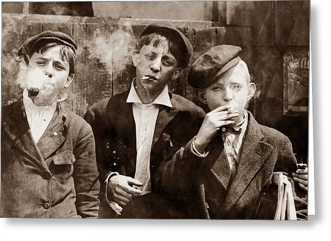 Newsboys Smoking - 1910 Child Labor Photo Greeting Card by War Is Hell Store