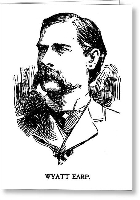 Greeting Card featuring the mixed media Newspaper Image Of Wyatt Earp 1896 by Daniel Hagerman