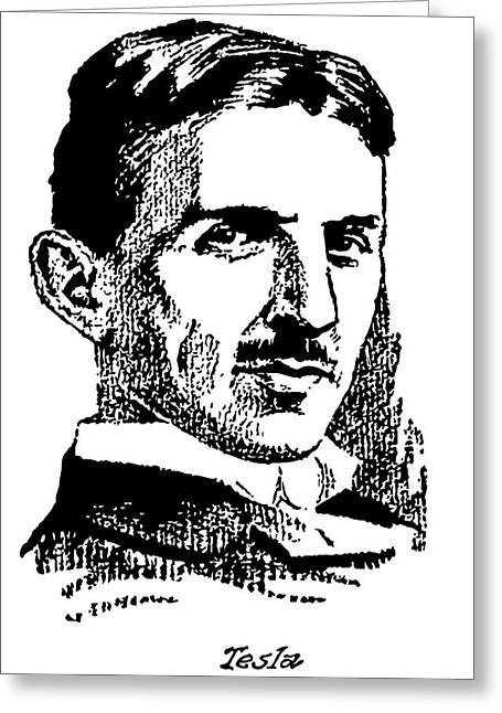 Greeting Card featuring the digital art Newspaper Nikola Tesla  by Daniel Hagerman