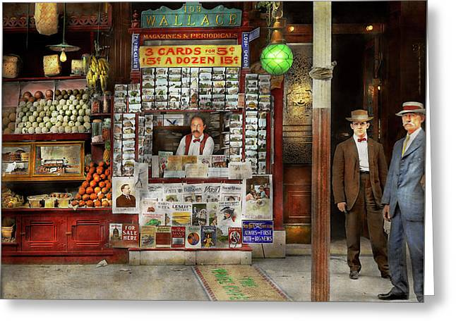 Newsstand - Standing Room Only 1908 Greeting Card by Mike Savad
